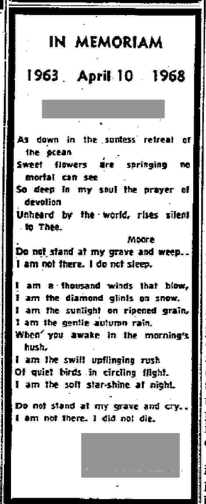do not stand at my grave and weep - bereavement poem
